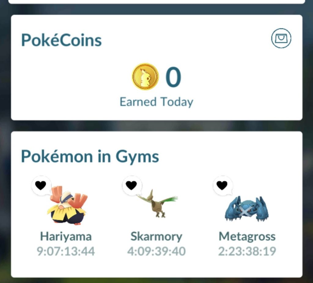 A screen showing Pokemon In gyms and Pokecoins earned today