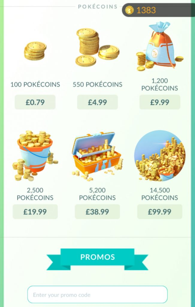 Pokecoins purchases