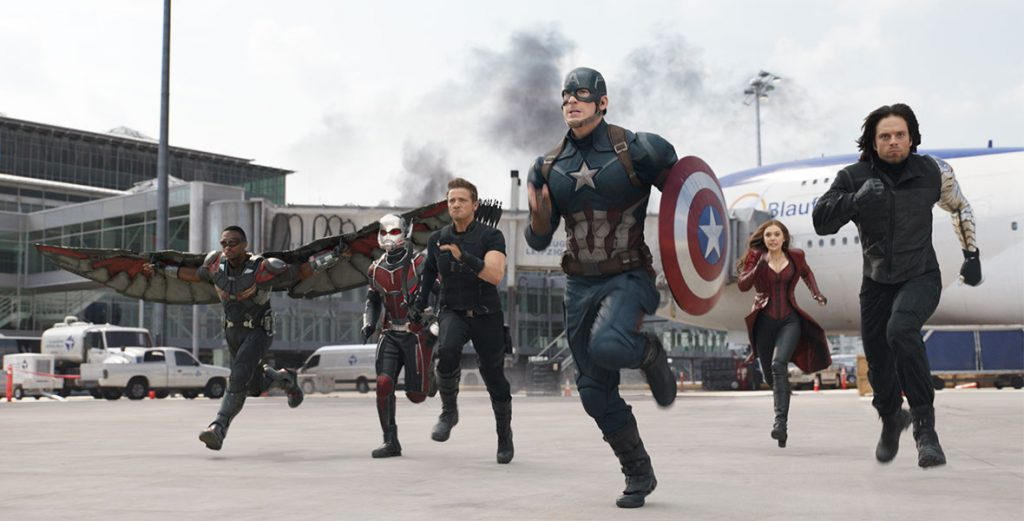 A still from Captain America: Civil War the 15 movie in the MCU in chronological order.