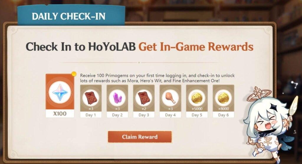 First login bonus to HoyoLab rewards