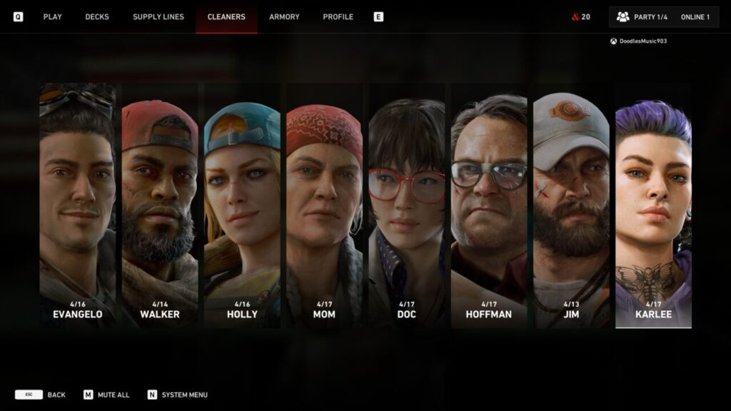 Back 4 Blood Character Select In Game